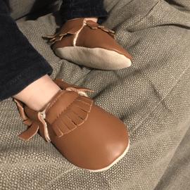 Chaussons cuir souple à franges