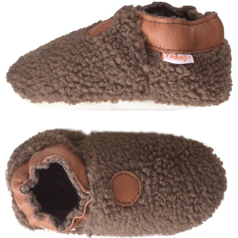chaussons-bebe-cuir-souple-bouclettes-marron-profil