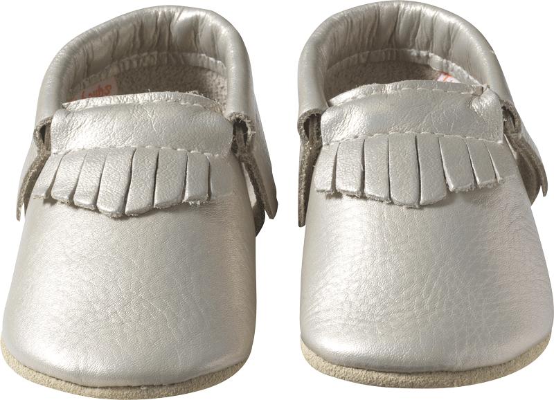 Chaussons-bebe-cuir-souple-franges-gris-metallique-face-