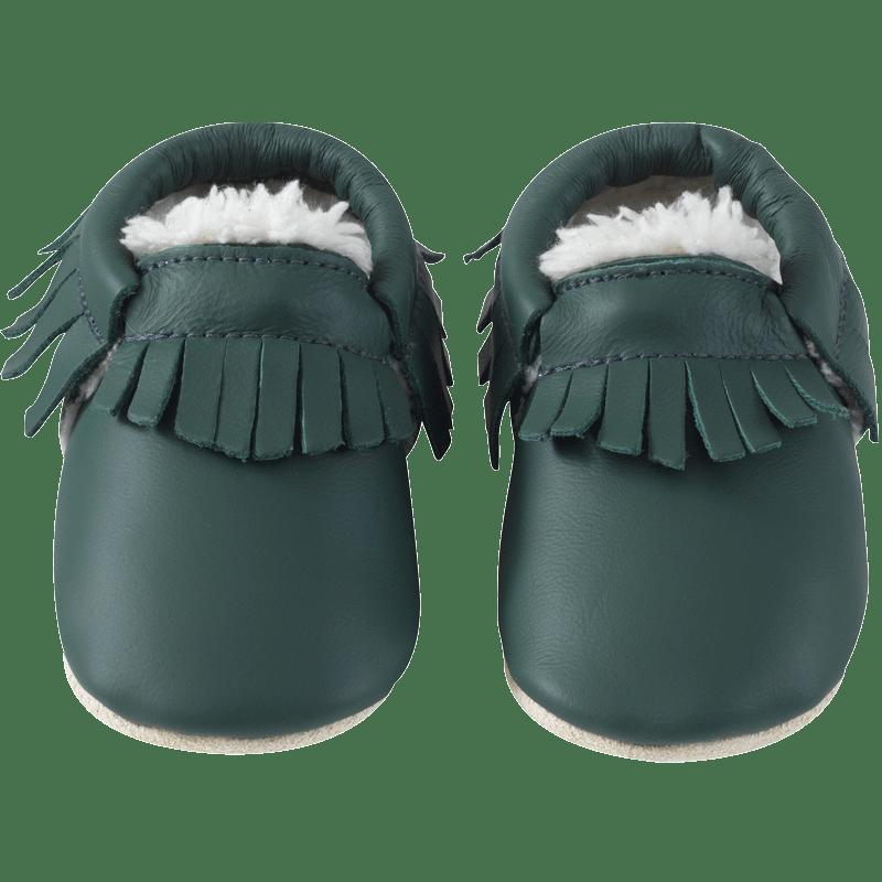 chaussons-bebe-cuir-souple-franges-fourres-vert-bouteille-face