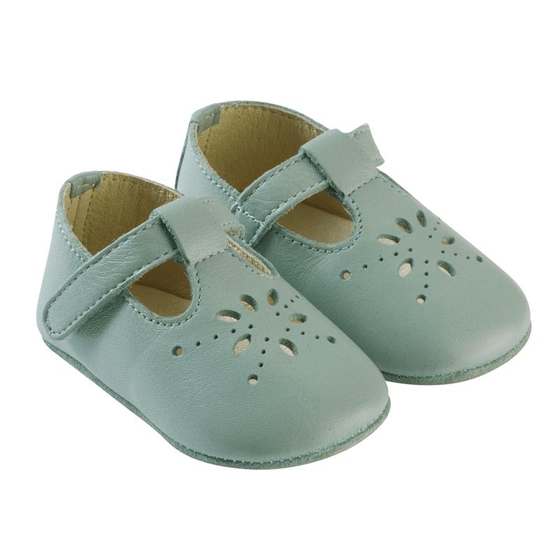 d484a4d4c2dcf Chaussures bébé cuir souple salomé vert de gris – Tichoups.