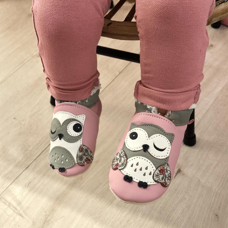 chaussons-bebe-cuir-souple-fourres-laurette-chouette-face