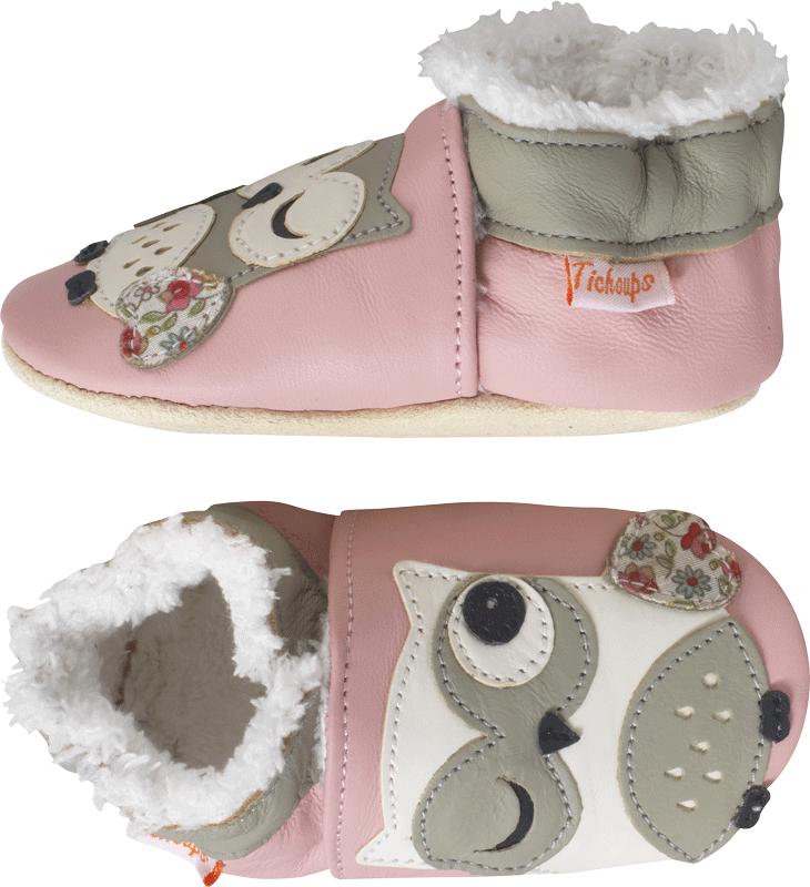 chaussons-bebe-cuir-souple-fourres-laurette-chouette-profil