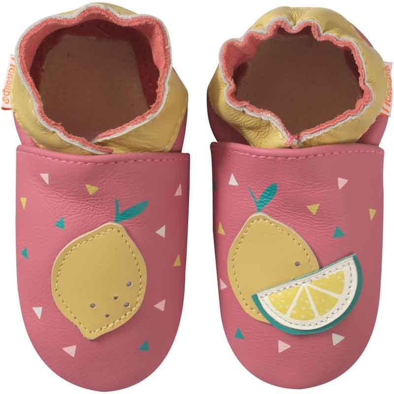 chaussons-bebe-cuir-souple-manon-citron-face