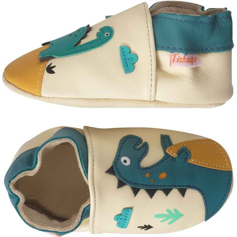 chaussons-bebe-cuir-souple-theodore-isaure-dinosaures-profil