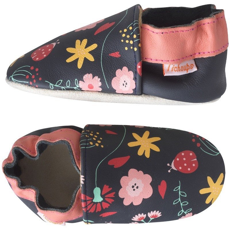 chaussons-bebe-cuir-souple-fanny-fleurs-profil