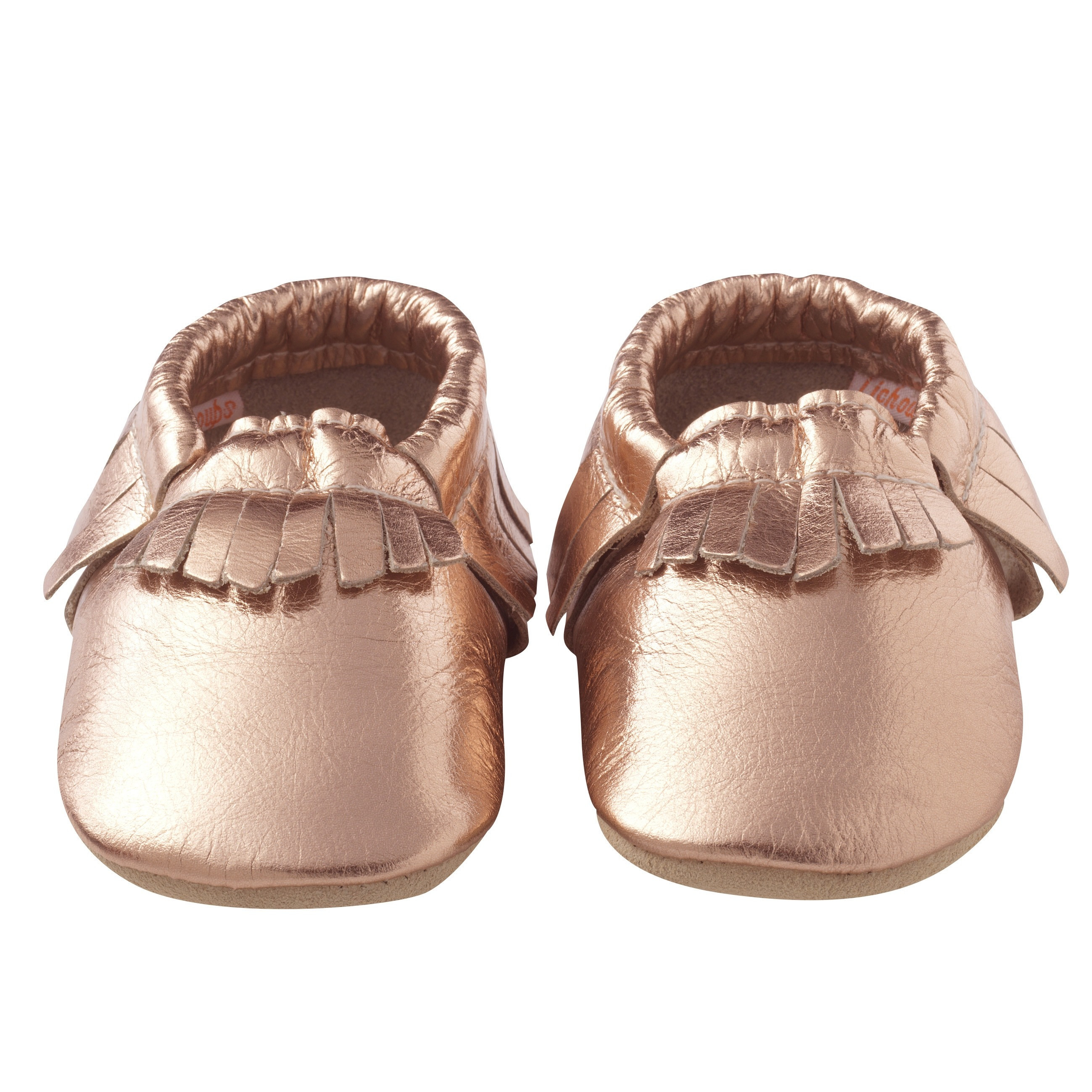 Chaussons-bebe-cuir-souple-franges-rose-metallique-face