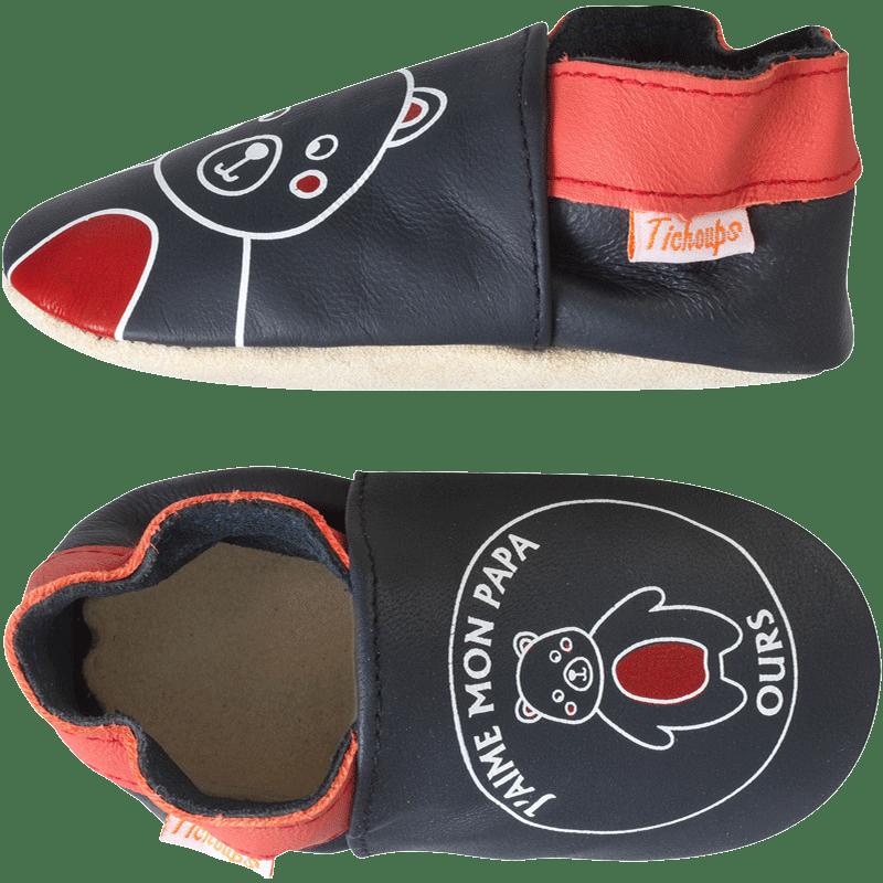 chaussons-bebe-cuir-souple-j-aime-mon-papa-ours-profil