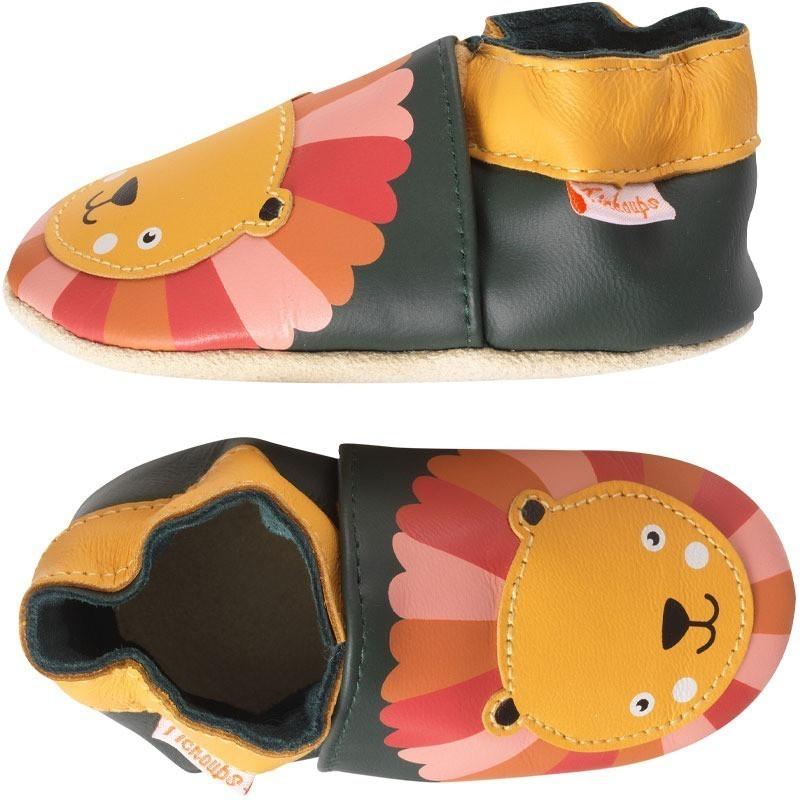 chaussons-bebe-cuir-souple-marion-lion-profil