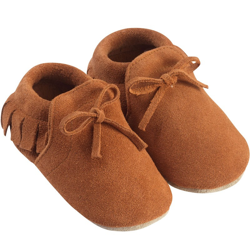 chaussons-bebe-a-franges-fourres--mocassin camel-profil