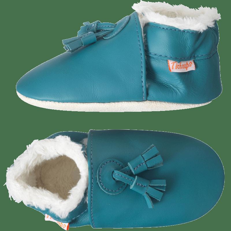 Chaussons-cuir-couple-uni-pampilles-fourrés-bleu-canard-profil
