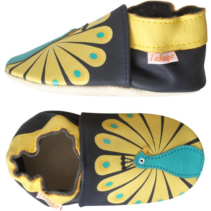 chaussons-bebe-cuir-souple-paul-le-paon-profil