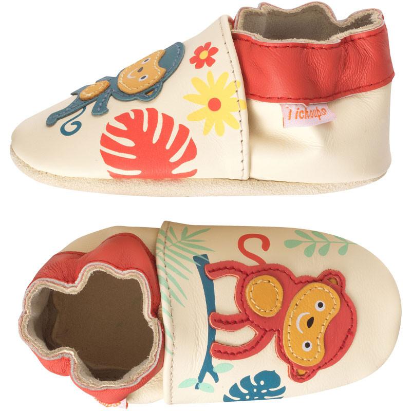chaussons-bebe-cuir-souple-sophie-sami-singes-profil
