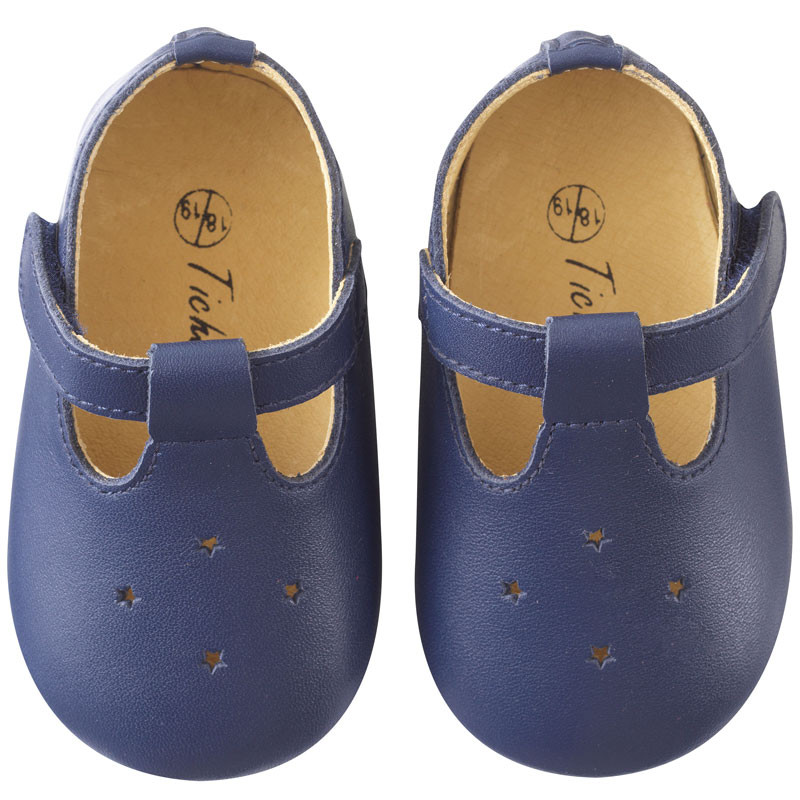 chaussures-bebe-cuir-souple-star-marine-face
