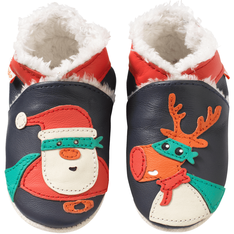 chaussons-bebe-cuir-souple-fourres-papa-noel-face