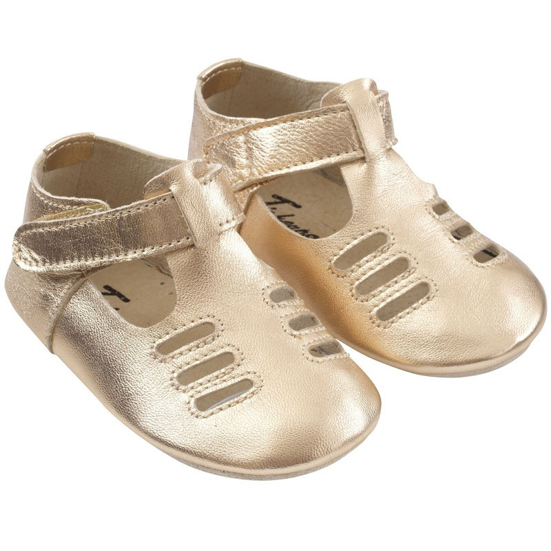 chaussures-bebe-cuir-souple-tibilly-dore-profil