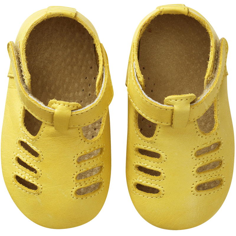 chaussures-bebe-cuir-souple-tibilly-jaune-face