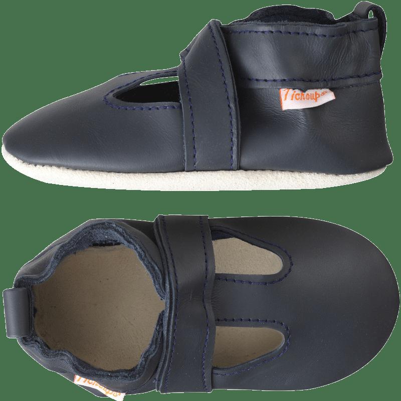 Chaussons-cuir-souple-uni-ouvert-marine-profil