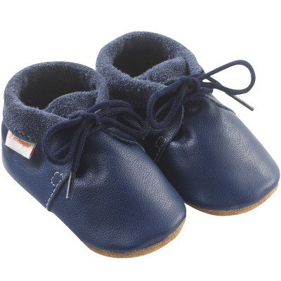chaussures-bebe-cuir-souple-marine-profil