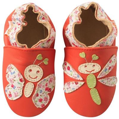 chaussons-bebe-cuir-souple-libellule-papillon-face