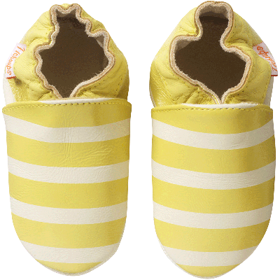 chaussons-bebe-cuir-souple-marceau-raye-jaune-face
