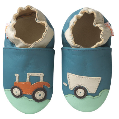 chaussons-bebe-cuir-souple-spencer-tracteur-face