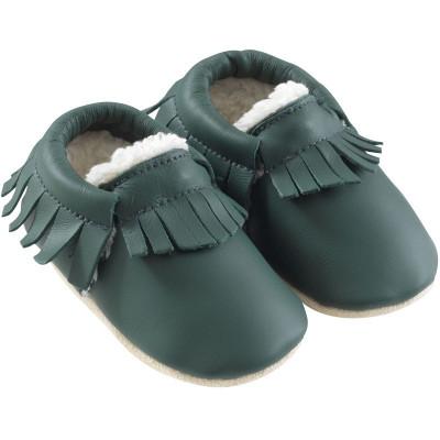 chaussons-bebe-cuir-souple-franges-fourres-vert-bouteille-profil