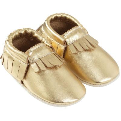 Chaussons-bebe-cuir-souple-franges-doree-profil