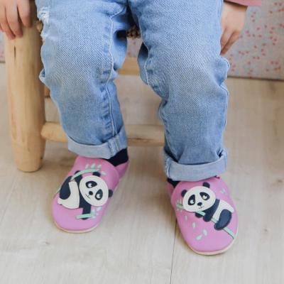 chaussons-bebe-cuir-souple-Dana-le-panda-face