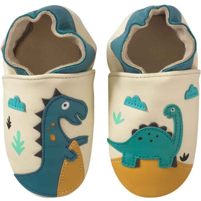 chaussons-bebe-cuir-souple-theodore-isaure-dinosaures-face