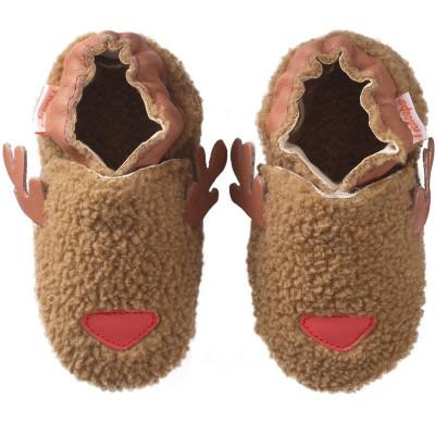 chaussons-bebe-cuir-souple-eden-renne-face
