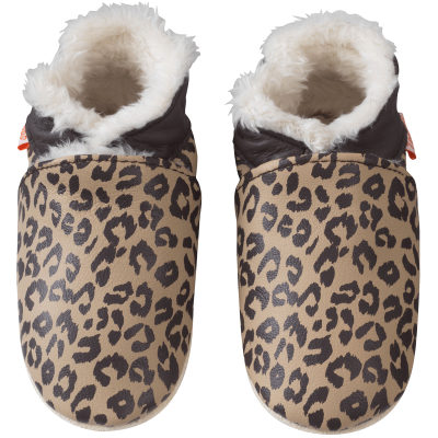 chaussons-bebe-cuir-souple-fourre-elie-leopard-800 face