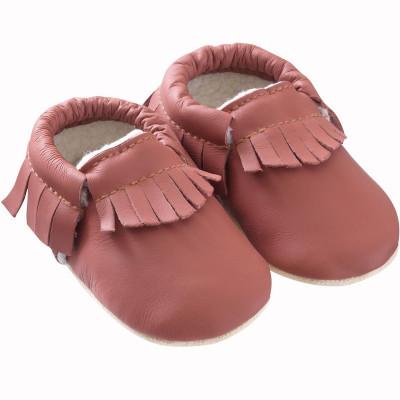 chaussons-bebe-cuir-souple-franges-fourres-havane-profil
