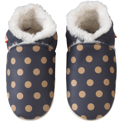 chaussons-bebe-cuir-souple-fourre-marine-pois-cafe-face
