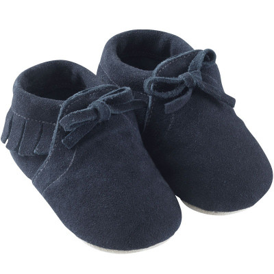 chaussons-bebe-a-franges-fourres--mocassin marine-profil