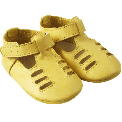 chaussures-bebe-cuir-souple-tibilly-jaune-profil