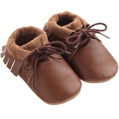 chaussures-bebe-cuir-souple-marron-a-franges-profil
