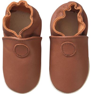 Chaussons-cuir-souple-uni-marron-face