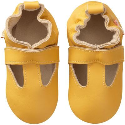 Chaussons-cuir-souple-uni-ouvert-jaune-moutarde-face