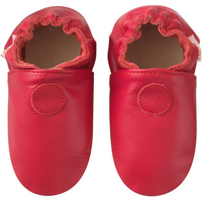 Chaussons-unis-rouge-cerise-face