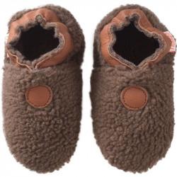 chaussons-bebe-cuir-souple-bouclettes-marron-face