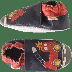 chaussons-bebe-cuir-souple-xavier-camion-pompier-profil