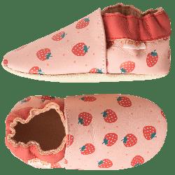chaussons-bebe-cuir-souple-alizee-fraise-profil