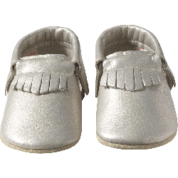 Chaussons-bebe-cuir-souple-franges-gris-metallique-face-