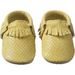chaussons-bebe-cuir-souple-franges-jaune-etoile-face