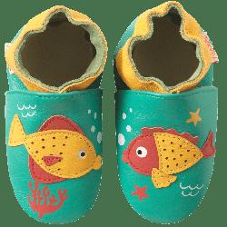 chaussons-bebe-cuir-souple-poissons-face