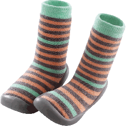 chaussons-chaussettes-rayures-corail-vert-face