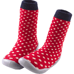 chaussons-chaussettes-rouge-pois-face
