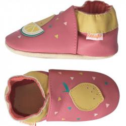 chaussons-bebe-cuir-souple-manon-citron-profil