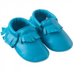Chaussons-bebe-à-franges-bleu-caraibes-profil